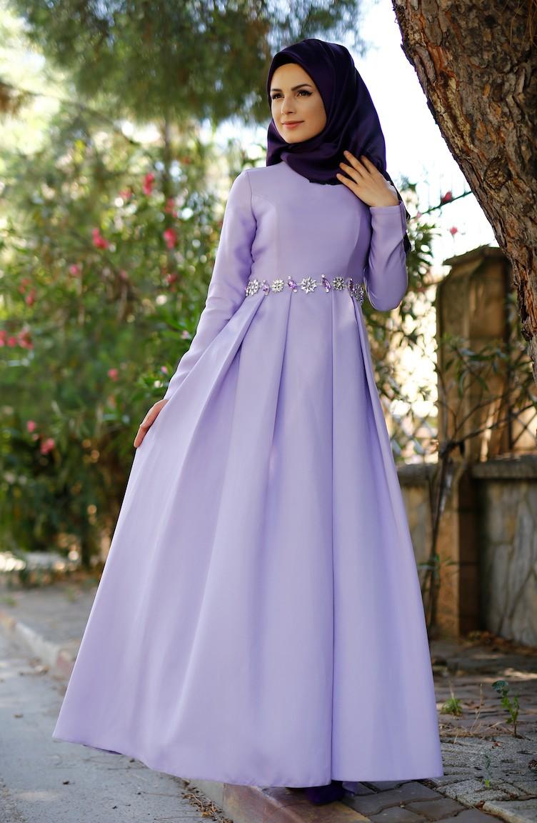 Lila Hijab Abendkleider 1004 02