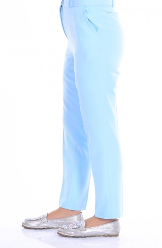 Gerade Hose mit Gürtel 5060-06 Baby Blau 5060-06