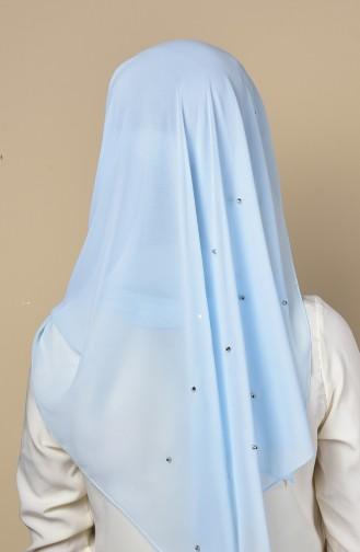 Châle Mousseline Détail Métal 3030-04 Bleu Bébé 04