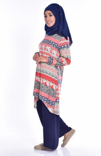 Tunik Pantolon İkili Takım 7807-02 Turuncu Lacivert Sefamerve