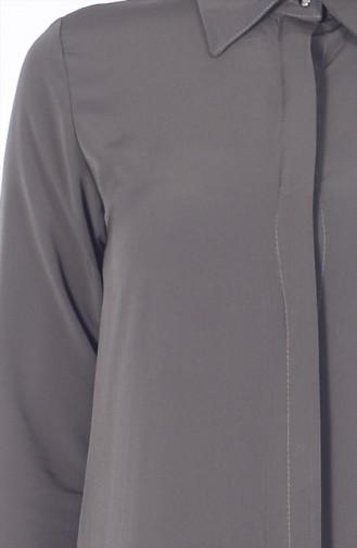 Uzun Krep Tunik 2812-10 Koyu Haki Yeşil