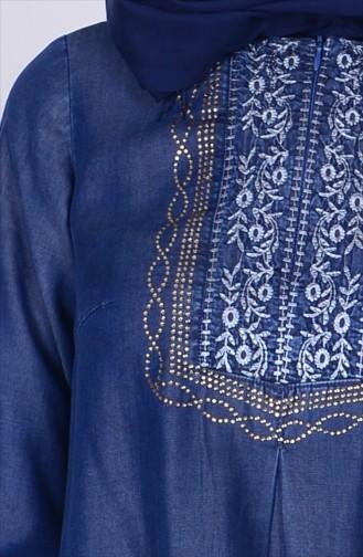 Tunique Jean İmprimée de Pierre 9127-01 Bleu Foncé 9127-01