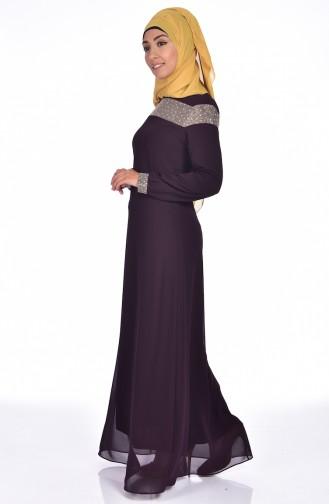 Taş Baskılı Elbise 99015-08 Mor 99015-08