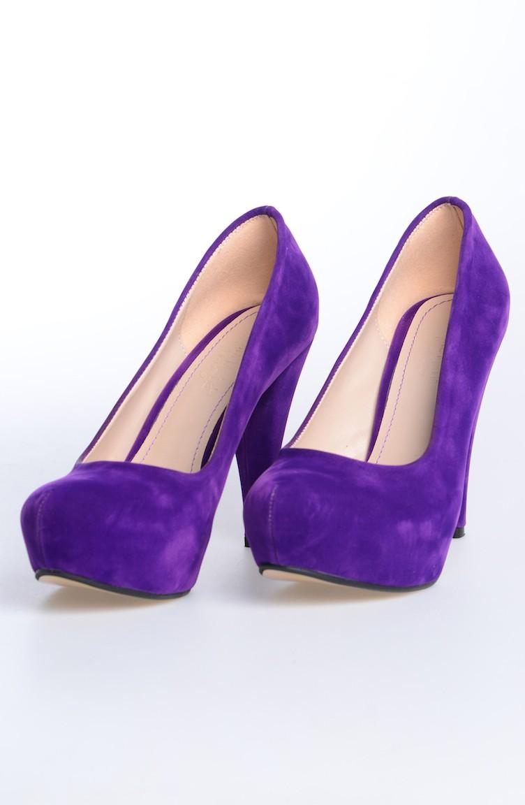 90f60426abb0b Platform Topuklu Ayakkabı 50009-07 Süet Mor
