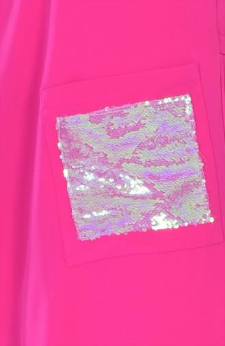 Gilet Plissé avec Poches 4117-03 Fushia 4117-03