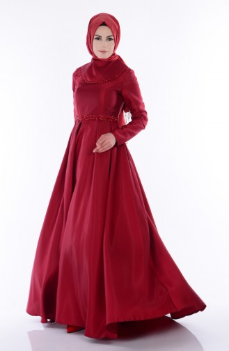 Taş Detaylı Abiye Elbise 1069-01 Bordo Sefamerve