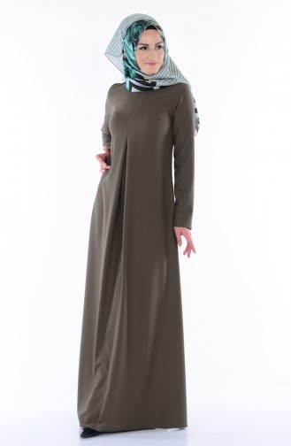 Pileli Krep Elbise 2821-03 Haki Yeşil