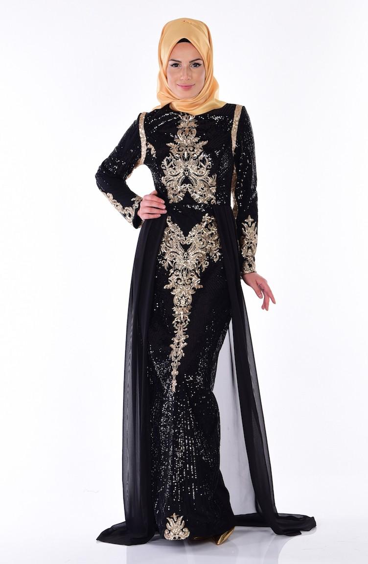 Fotos 2013 arkas uzun elbise abiye modelleri picture - Payet Detayl Abiye Elbise 52579 01 Siyah