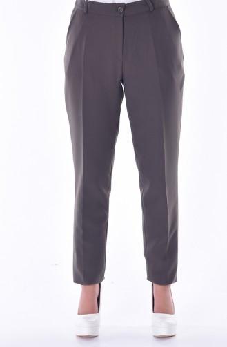 Pantalon Simple avec Poches 5055-05 Vert Khaki 5055-05