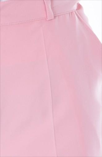Cepli Düz Paça Pantolon 5055-03 Pembe