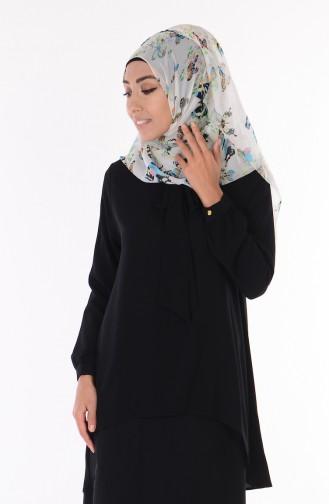 Kravat Yaka Bluz 1022-05 Siyah