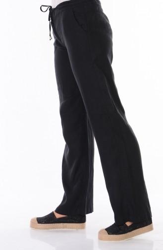 Keten Bol Paça Pantolon 3002-05 Siyah Sefamerve