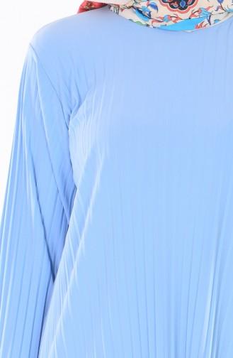 Ensemble Deux Pieces Jupe Blouse Plissée 1889-12 Bleu Bébé 1889-12