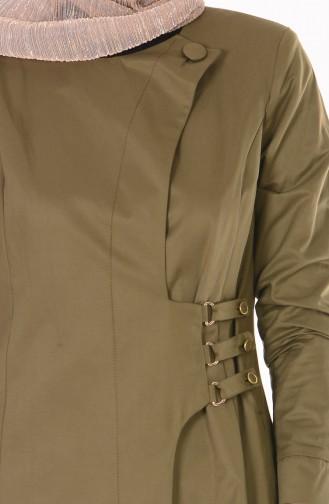 Trench Coat avec Poches 7005-04 Vert Khaki 7005-04