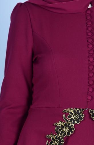 Robe de Soirée Détail Boutons 5072-06 Plum 5072-06
