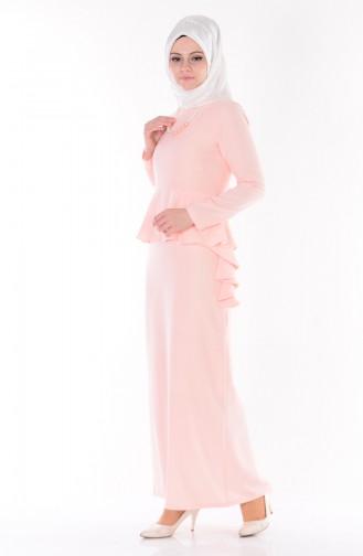Robe Volante avec Collier 0693-04 Saumon 0693-04