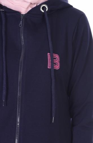 Coat with Hood 1480-04 Navy Blue 1480-04