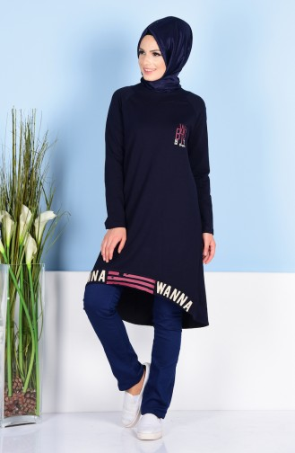 Tunic with Print 1474-01 Navy Blue 1474-01