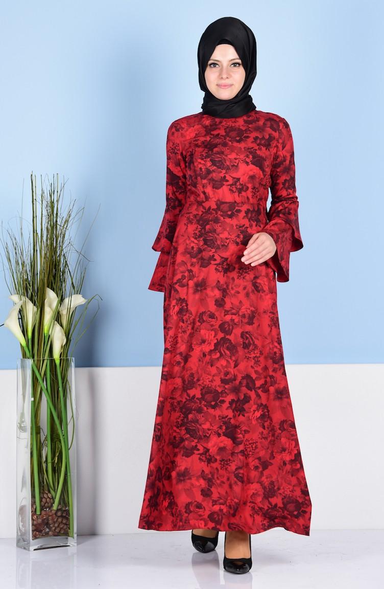 2ba6b6e8af334 İspanyol Kol Elbise 1245-05 Kırmızı Siyah
