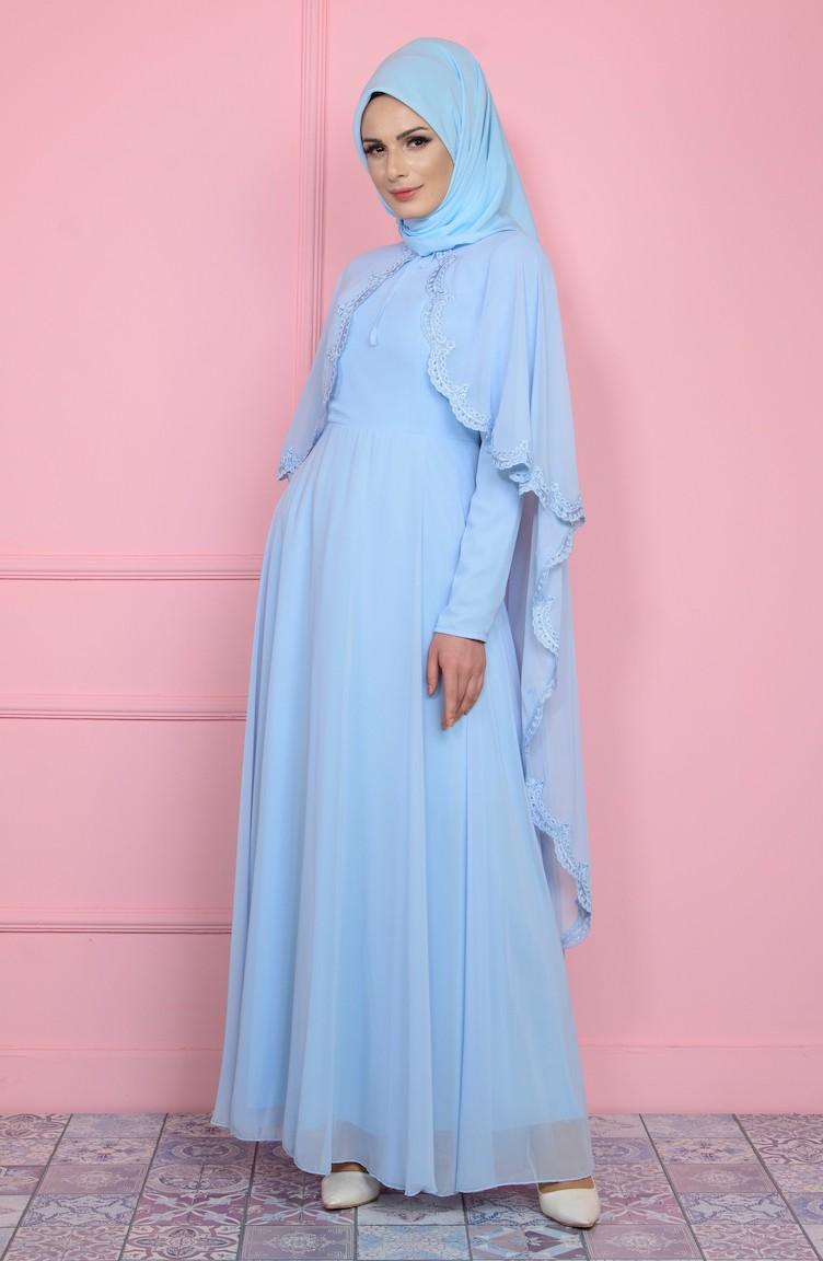 Abendkleid mit Umhang 1087-03 Ice Blau 1087-03 | Sefamerve