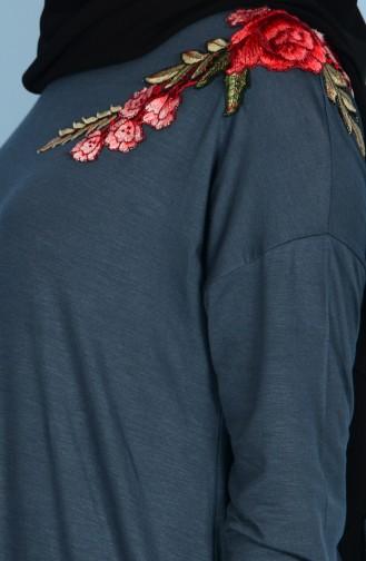 Nakışlı Tunik 17500-01 Füme 17500-01