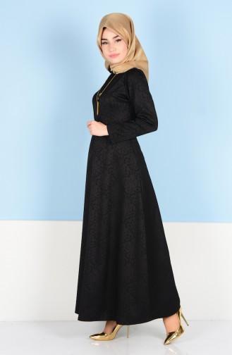 Sefamerve Kemerli Elbise 3951-03 Siyah