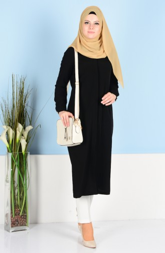 Tunic with Hidden Buttons 5002-01 Black 5002-01
