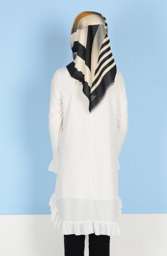 Ruffled Tunic 1013-01 White 1013-01