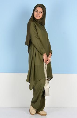 Tunik Pantolon İkili Takım 6000-03 Haki Yeşil Sefamerve