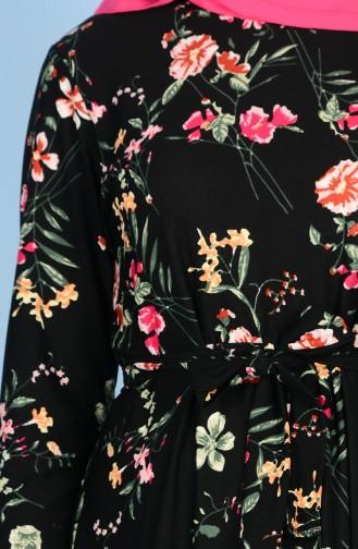 Desenli Kuşaklı Elbise 7256B-01 Siyah Yeşil