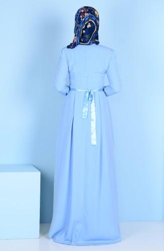 Robe Détail Fleurs 3164-04 Bleu Bébé 3164-04