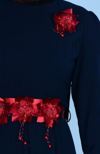 Robe Détail Fleurs 3164-01 Bleu Marine 3164-01
