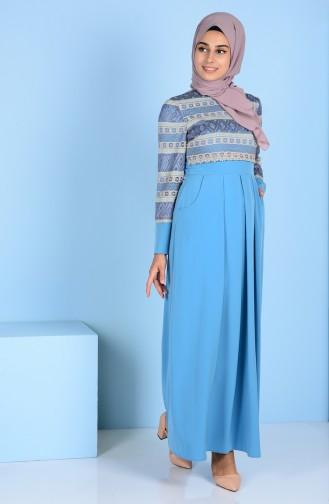 Lacing Detailed Dress 3147-04 Blue 3147-04