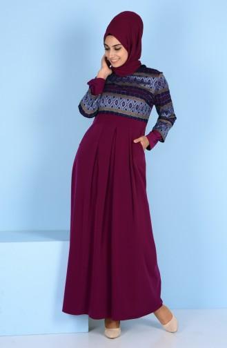 Dantel Detaylı Elbise 3147-02 Mürdüm 3147-02
