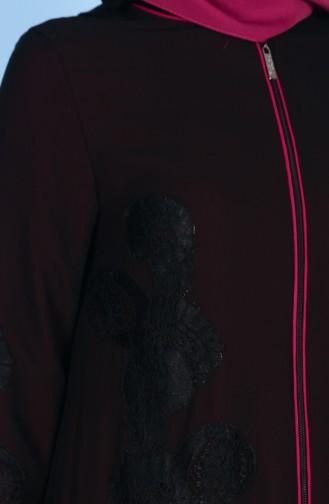 Dantel Detaylı Ferace 4077-06 Siyah Fuşya 4077-06