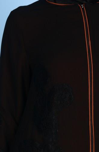 Dantel Detaylı Ferace 4077-07 Siyah Kiremit 4077-07