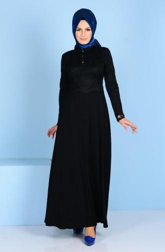 Robe Detaillé de Dentelle 3162-02 Noir 3162-02