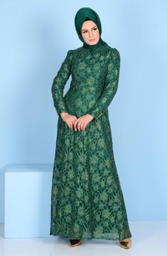 Dantel Kaplamalı Elbise 3117-02 Zümrüt Yeşil