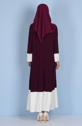 Gefaltetes Kleid mit Patchwork 1911-02 Lila 1911-02