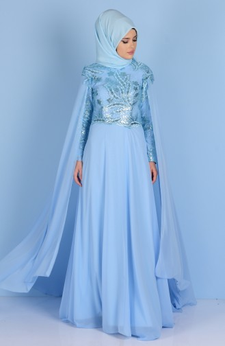 Scale Detailed Evening Dress 7228-02 Baby Blue 7228-02