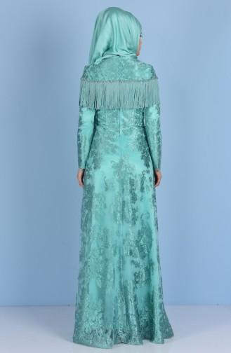 Mint green İslamitische Avondjurk 7176-03