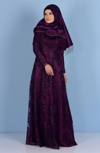 Robe de Soirée detaillé de Pierre 7176-01 Pourpre 7176-01