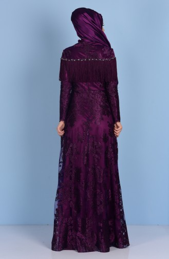 Purple Islamic Clothing Evening Dress 7176-01