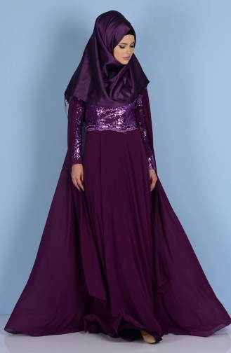 Scale Detailed Evening Dress 7228-03 Purple 7228-03
