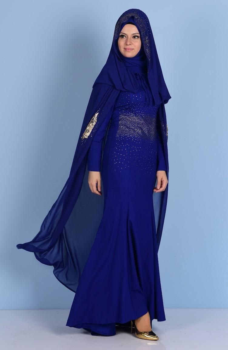 5aa9ac0aa9f02 فستان لون أزرق نيلي 7001-03