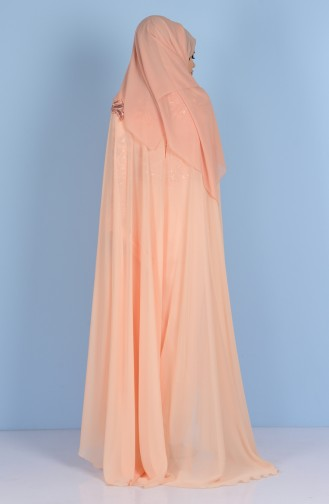Scale Detailed Evening Dress 7228-04 Salmon 7228-04