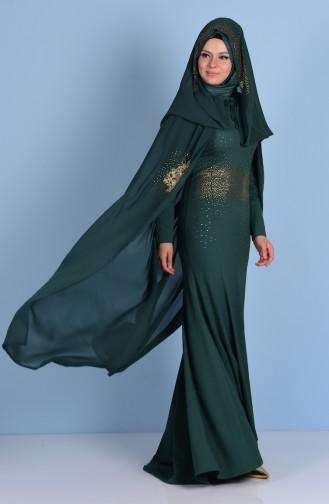 Abendkleid aus Strassstein mit Umhang 7001-01 Smaragdgrün 7001-01