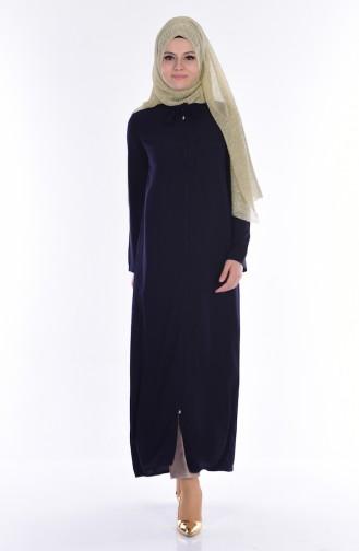 Tie Collar Abaya 1001-01 Navy Blue 1001-01
