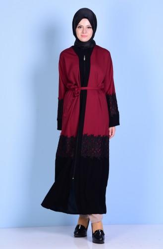 Claret red Abaya 7724-03