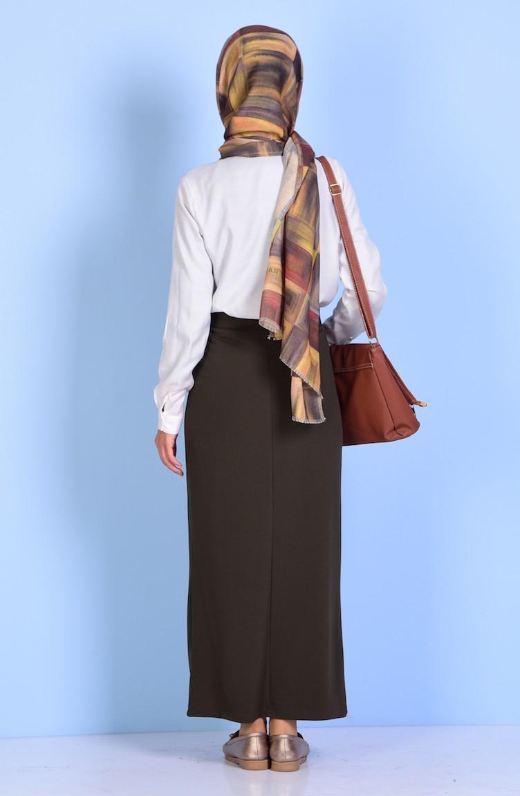610509781502d Plus Size Elastic Pencil Skirt 7107-04 Khaki 7107-04